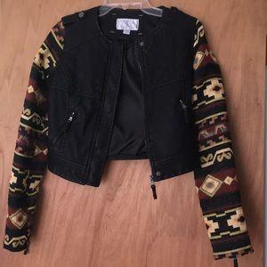 Black leather statement jacket